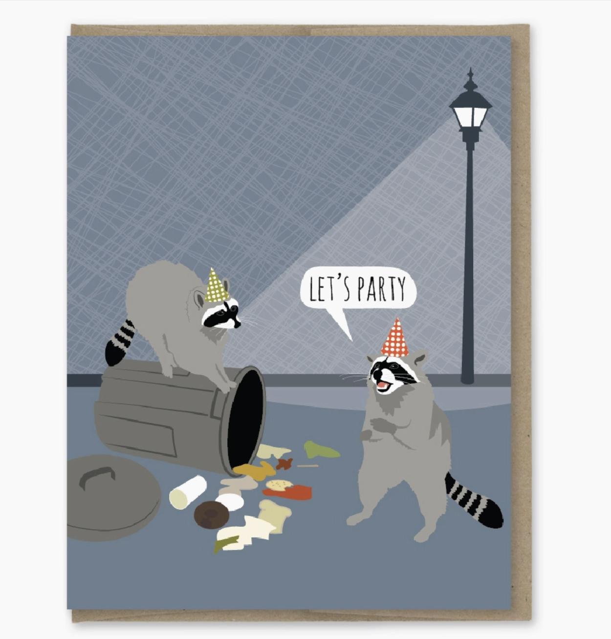 Modern Printed Matter Raccoon Party Birthday Card