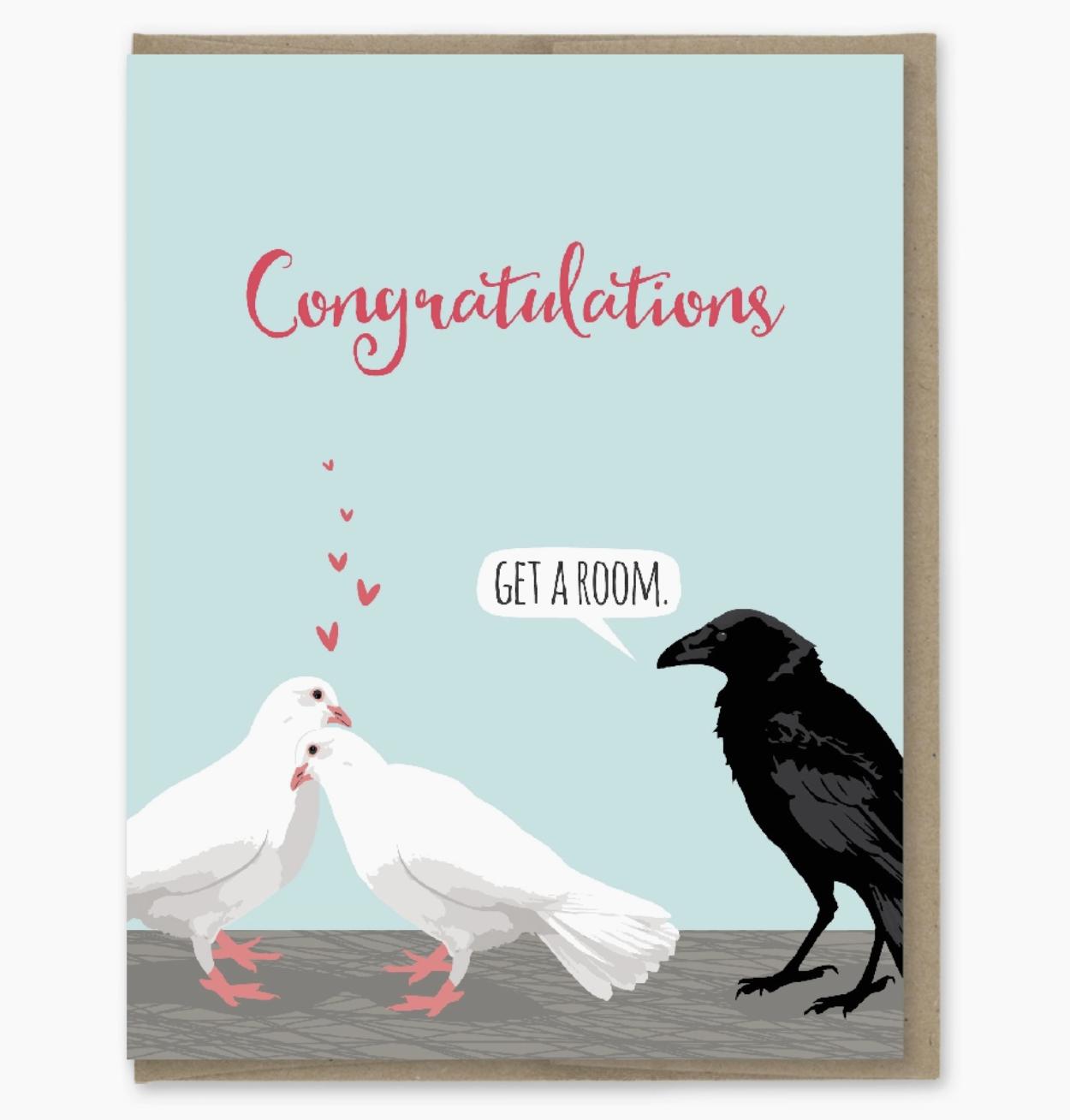 Modern Printed Matter Get a Room Doves Card