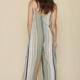 By Together Maggie Jumpsuit-Camel/Teal Stripe