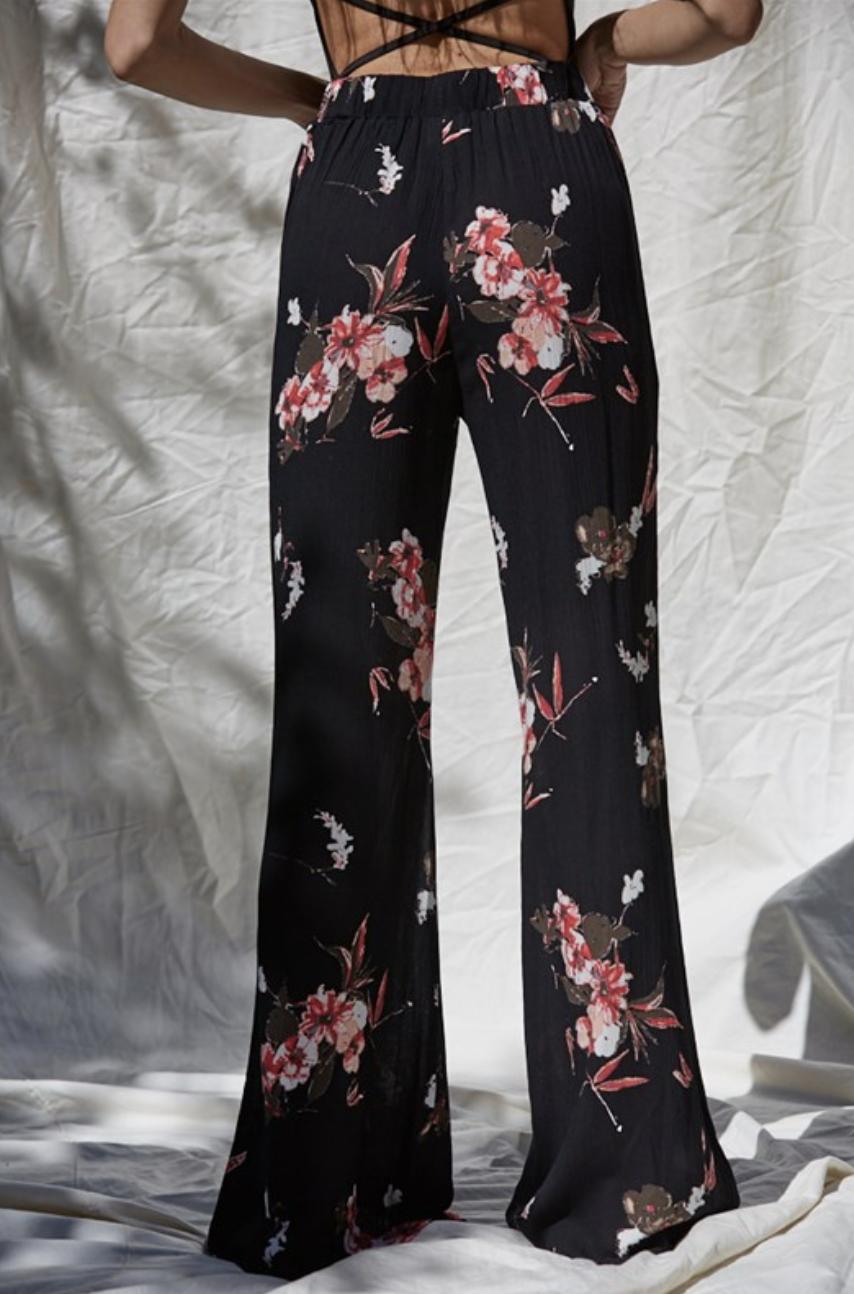 By Together Floral Flare Pants-Black