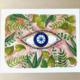 Bright & Blue Evil Eye Floral Art Print
