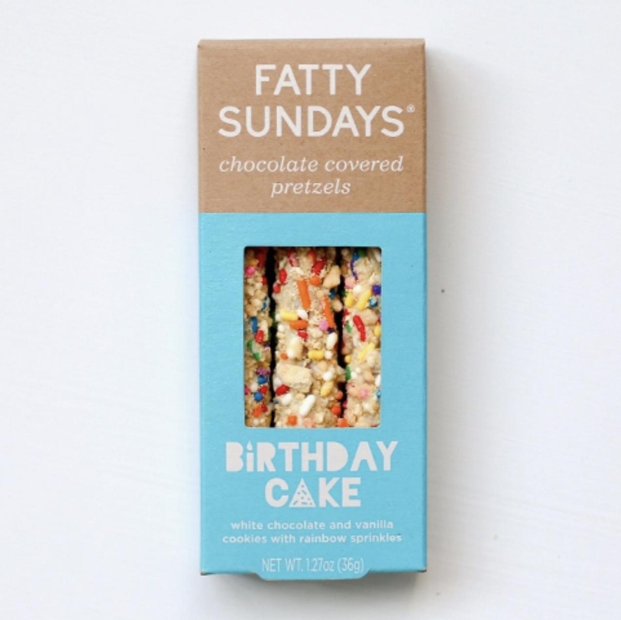 Fatty Sundays Birthday Cake Chocolate Covered Pretzels