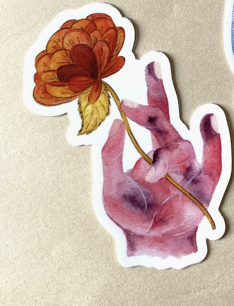 Bright & Blue Meditative Floral Hands Sticker- Pink