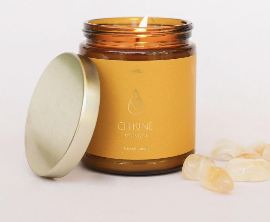 JaxKelly Amber Crystal Candle - Citrine