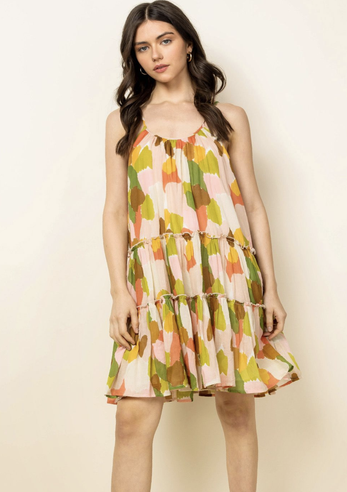 THML Megan Dot Dress-Green Multi - FINAL SALE