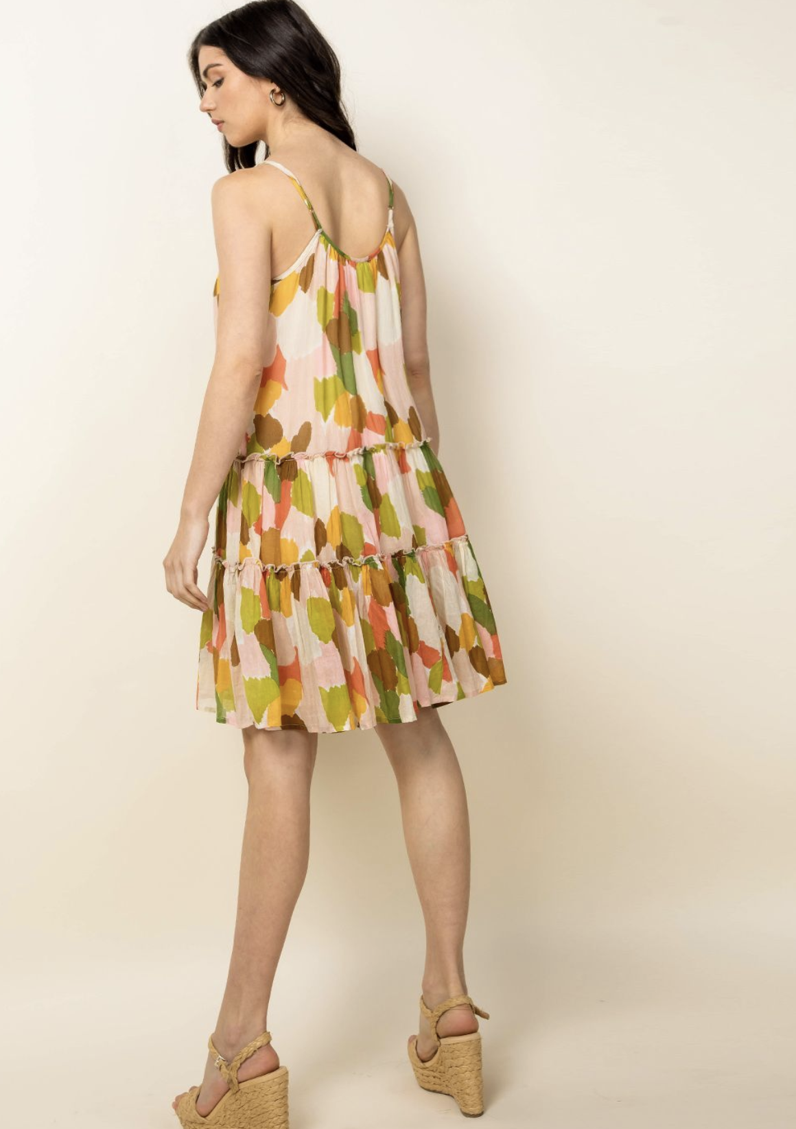 THML Megan Dot Dress-Green Multi