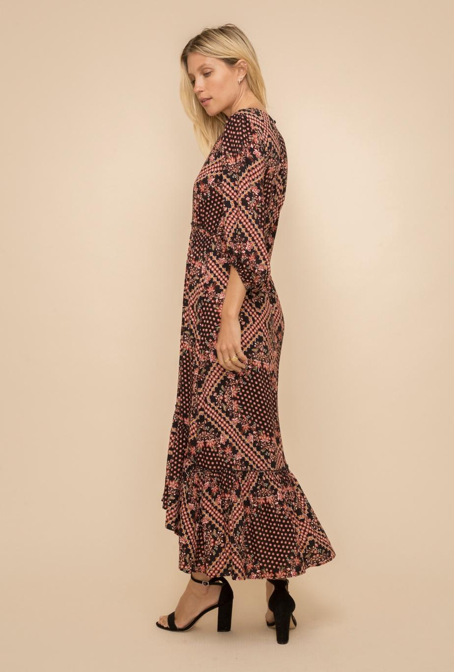 Hem & Thread Patchwork Midi Dress