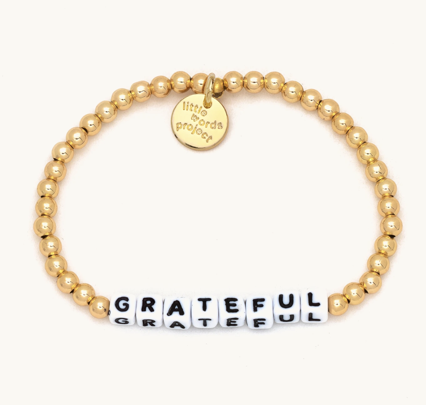 Little Words Project Grateful-Solid Gold Fill-White