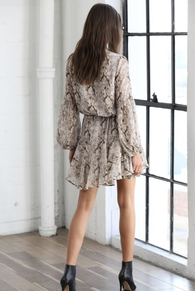 By Together Leah Snakeprint Dress-Taupe