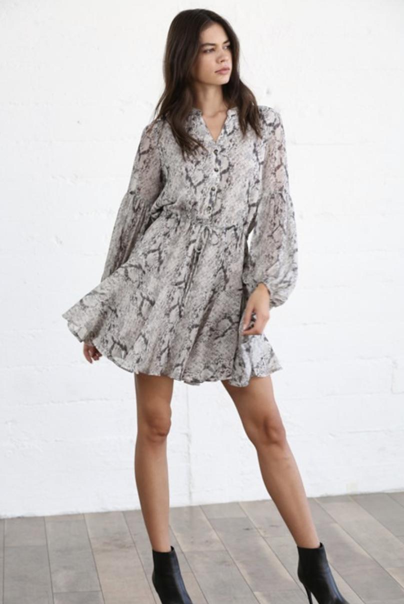 By Together Leah Snakeprint Dress-Grey