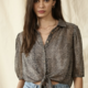 By Together Sandy Collared Top-Grey