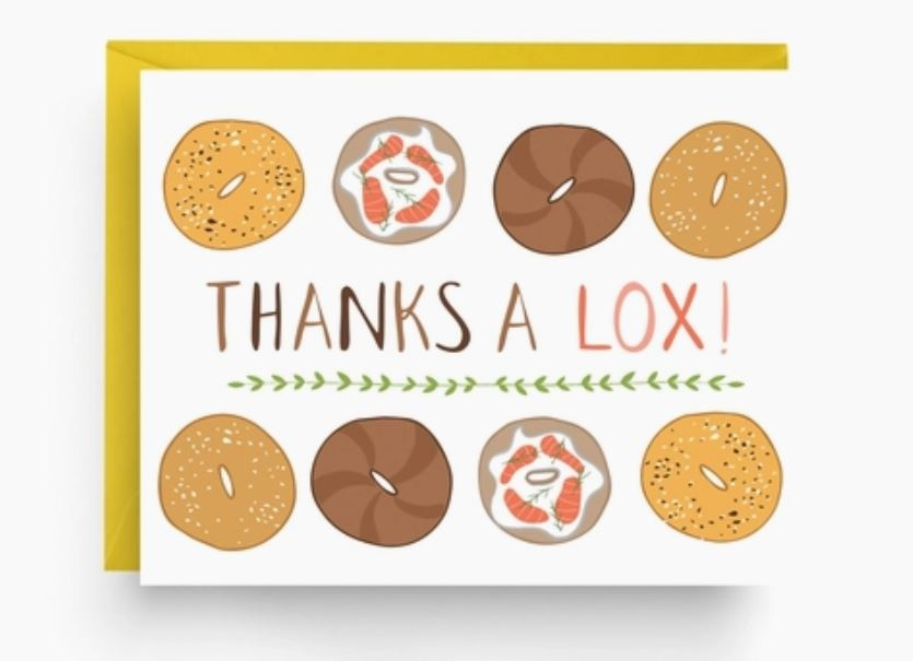 Nicole Marie Paperie Thanks A Lox - Bagel Thank You Card (Boxed Set of 6)