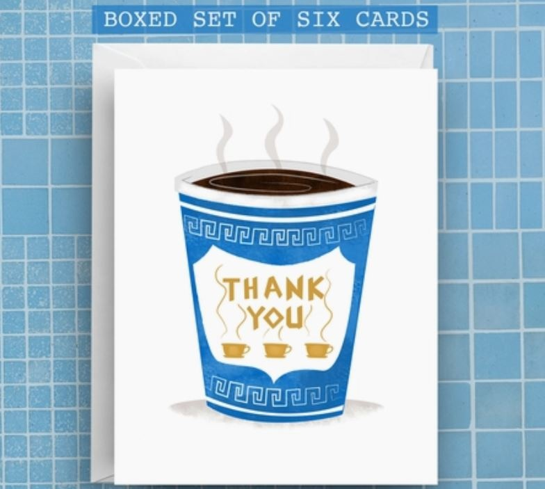 Nicole Marie Paperie Greek Coffee Thanks Card (Boxed Set of 6)