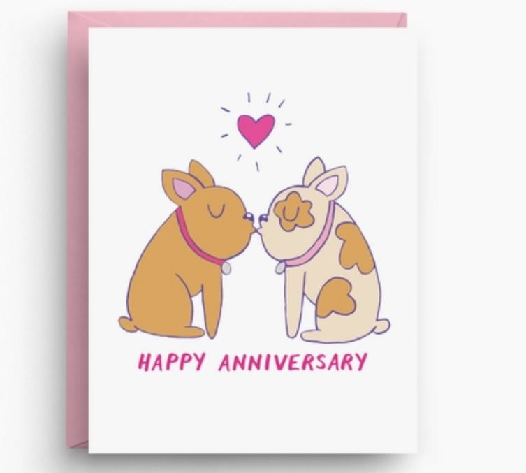 Nicole Marie Paperie French Bulldog Anniversary Card