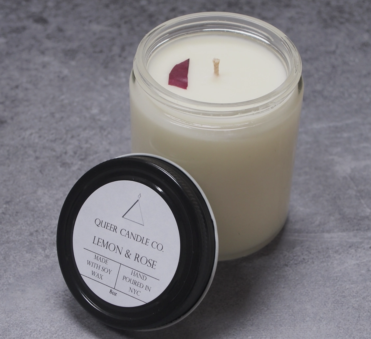 Queer Candle Co Lemon and Rose