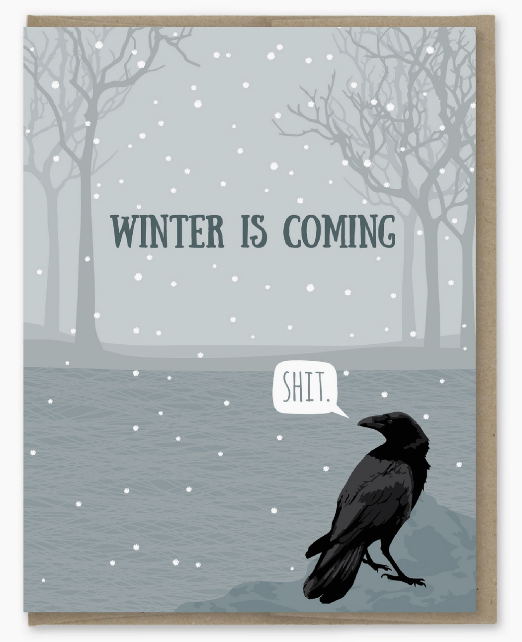 Modern Printed Matter Raven Winter Is Coming Holiday Card