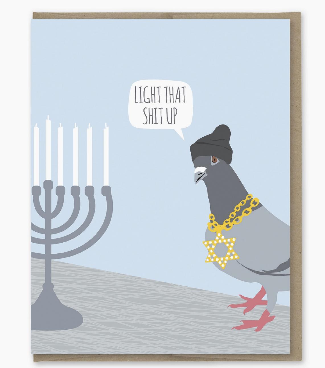 Modern Printed Matter Light That Up Hanukkah Card