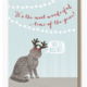 Modern Printed Matter Cat Antlers and Wonderful Time Card
