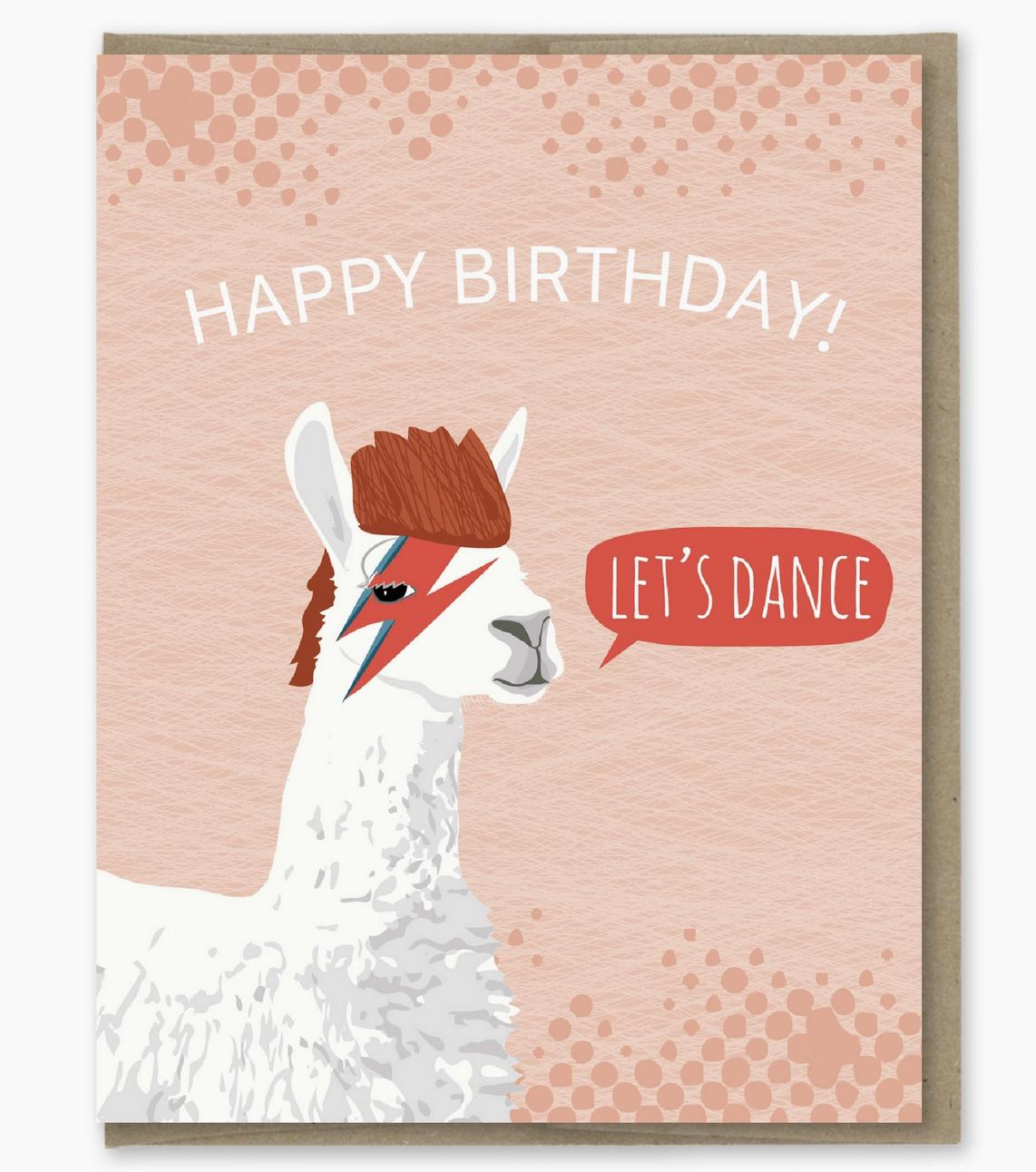 Modern Printed Matter Bowie Llama Birthday Card