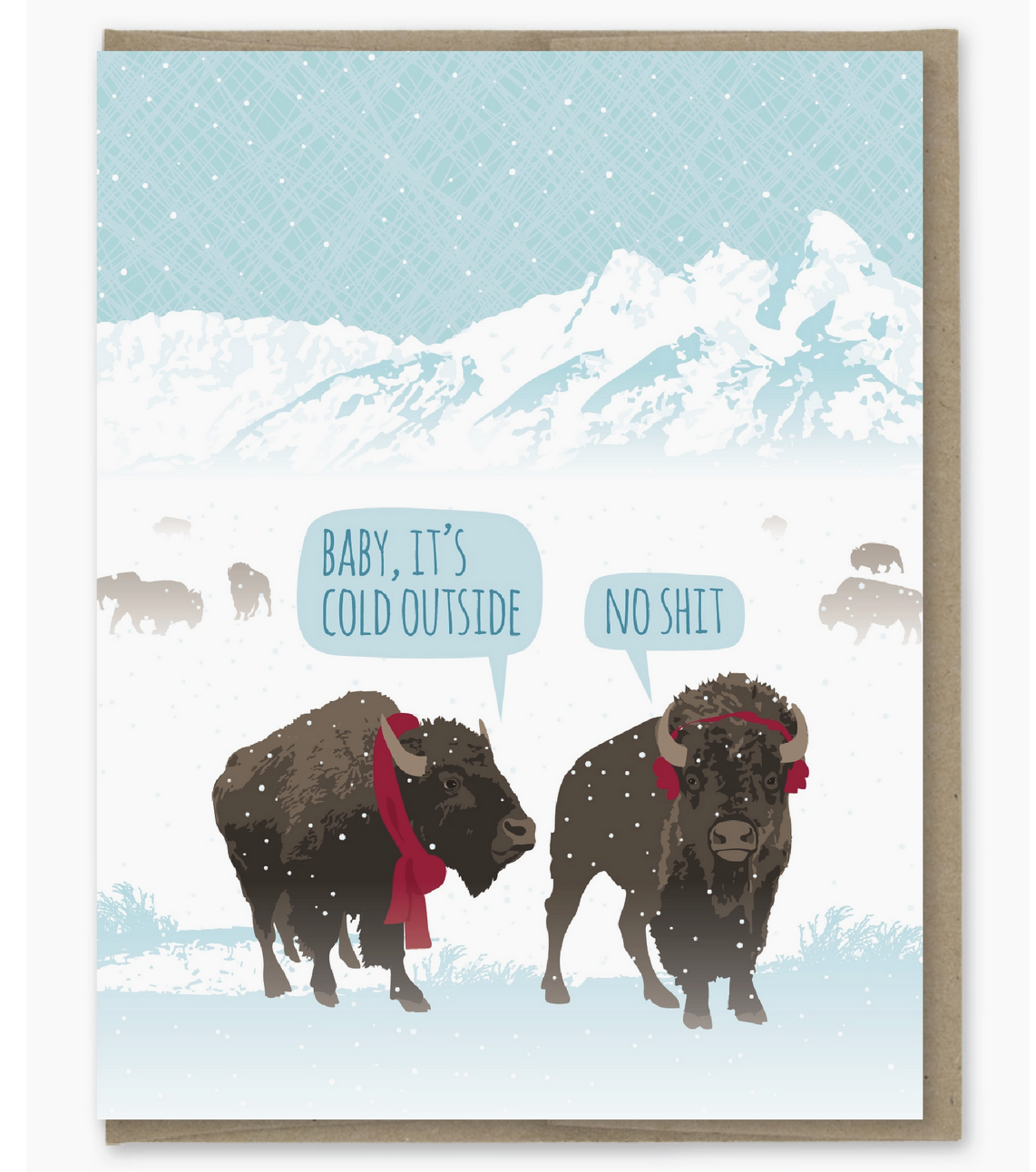 Modern Printed Matter Bison Baby It's Cold Card