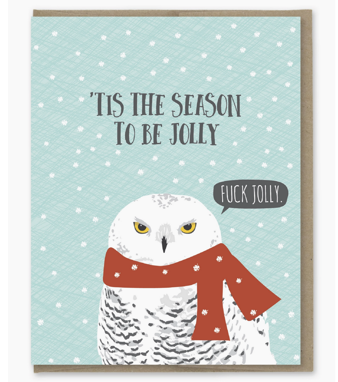 Modern Printed Matter Be Jolly Angry Owl Holiday Card