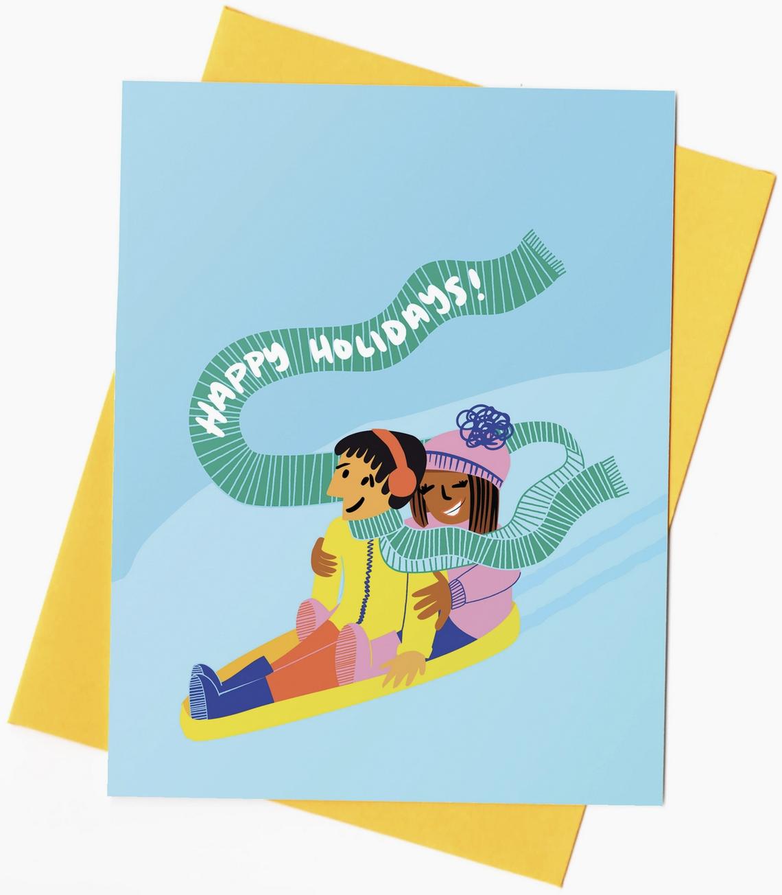 Rhino Parade Happy Holidays Sled Card