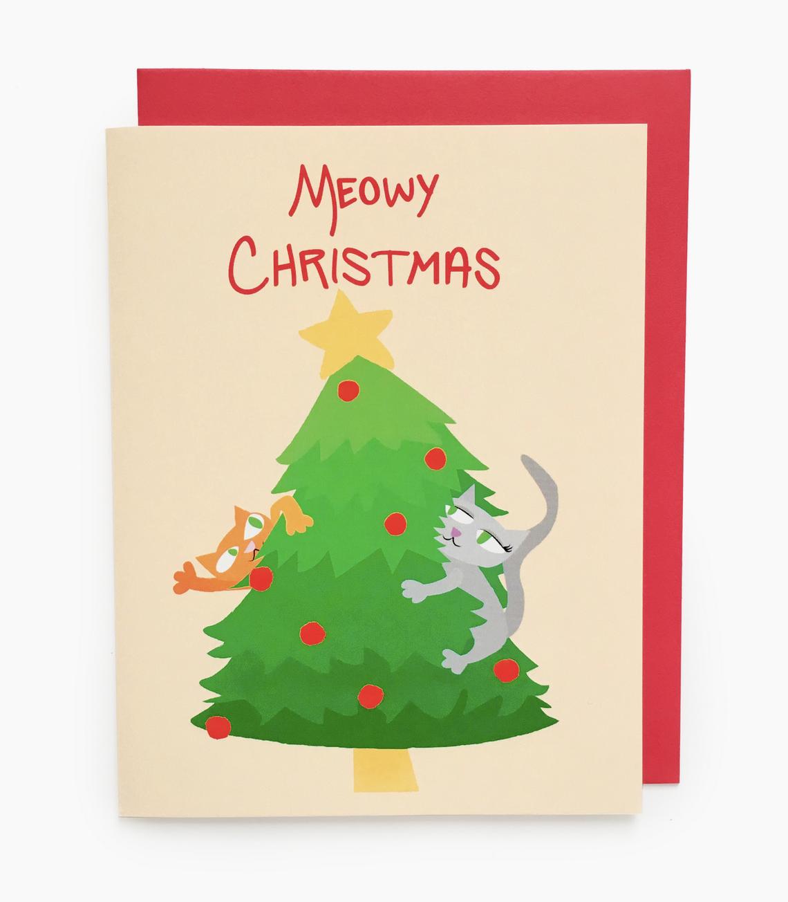 Rhino Parade Meowy Christmas Card