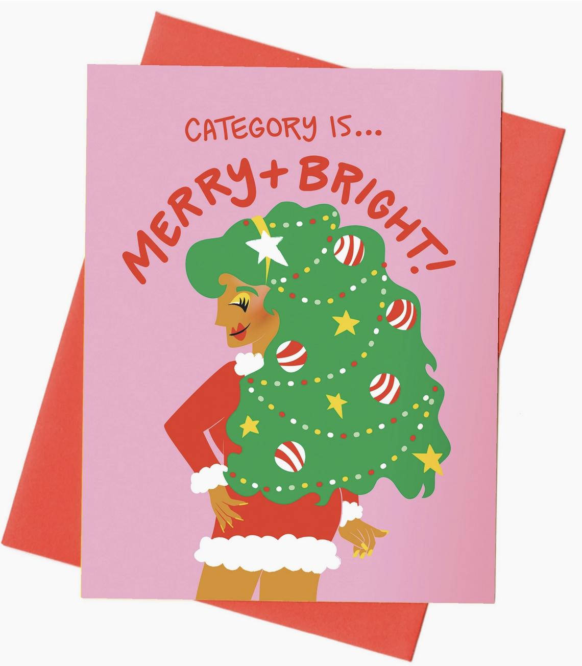 Rhino Parade Merry + Bright Drag Queen Christmas Card