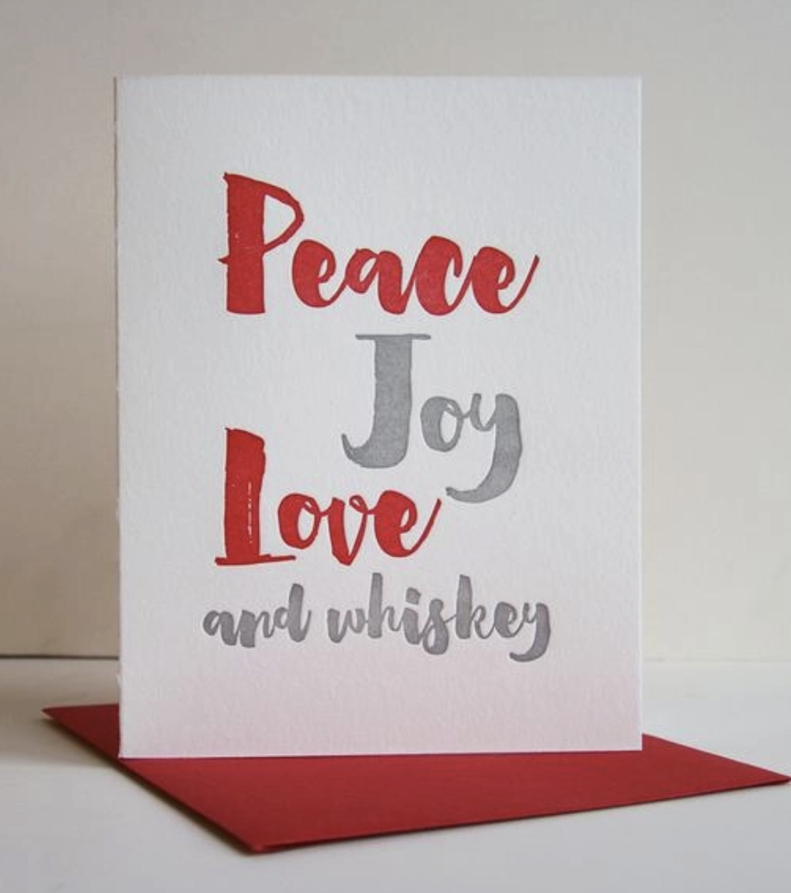 Steel Petal Press Peace And Whiskey Holiday Card