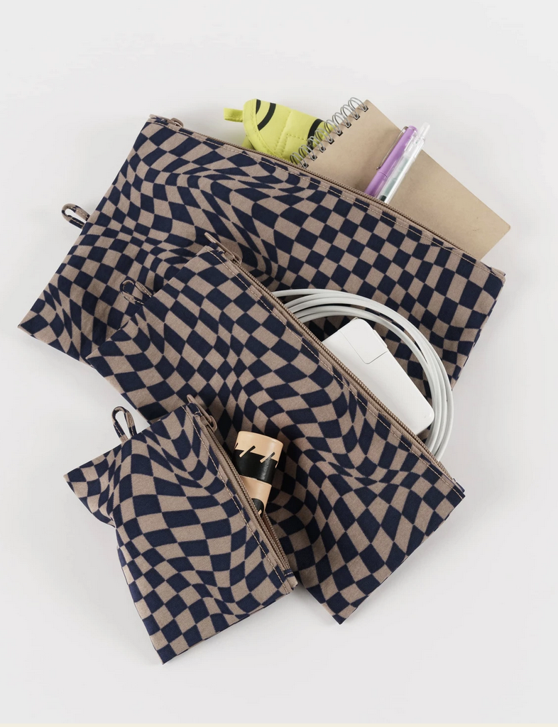Baggu Flat Pouch Set-Indigo Trippy Checker