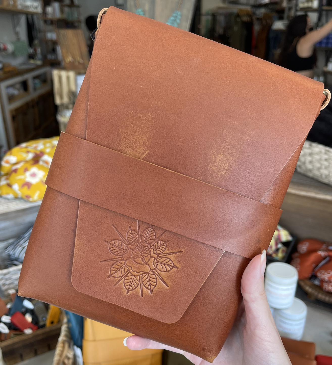 Cruger Co Leather Crossbody - Brown w/ Rose