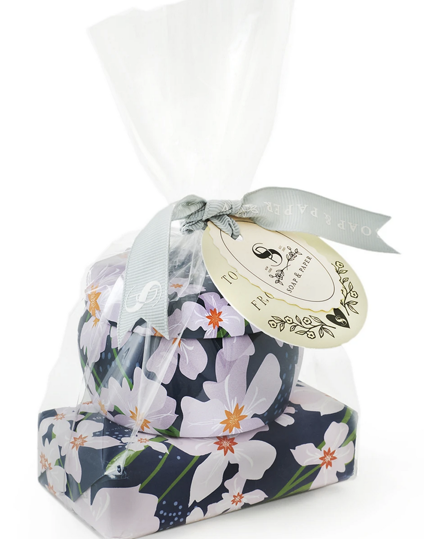 Soap & Paper Factory Vanilla Fleur Tin Candle & Soap Gift Set