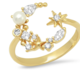 tai Gold Mixed CZ and Pearl Open Star Ring