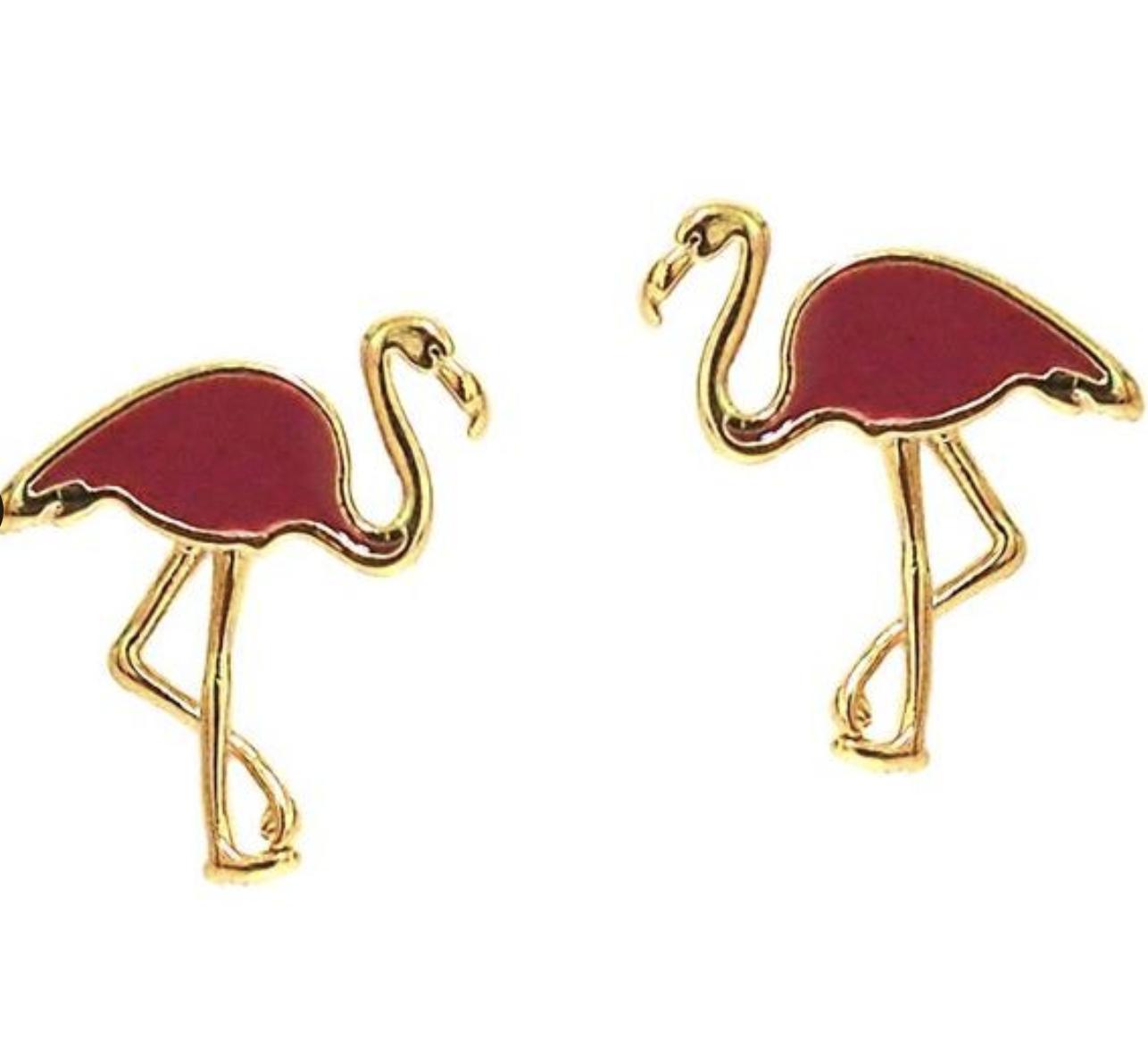 tai Pink Enamel Flamingo Post Earrings