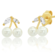 tai Gold Vermeil Post Earrings w/ Pearl and CZ