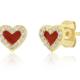 tai Gold Red Enamel Heart Post Earrings