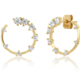 tai Gold Front Facing Hoops w/ CZ Accents
