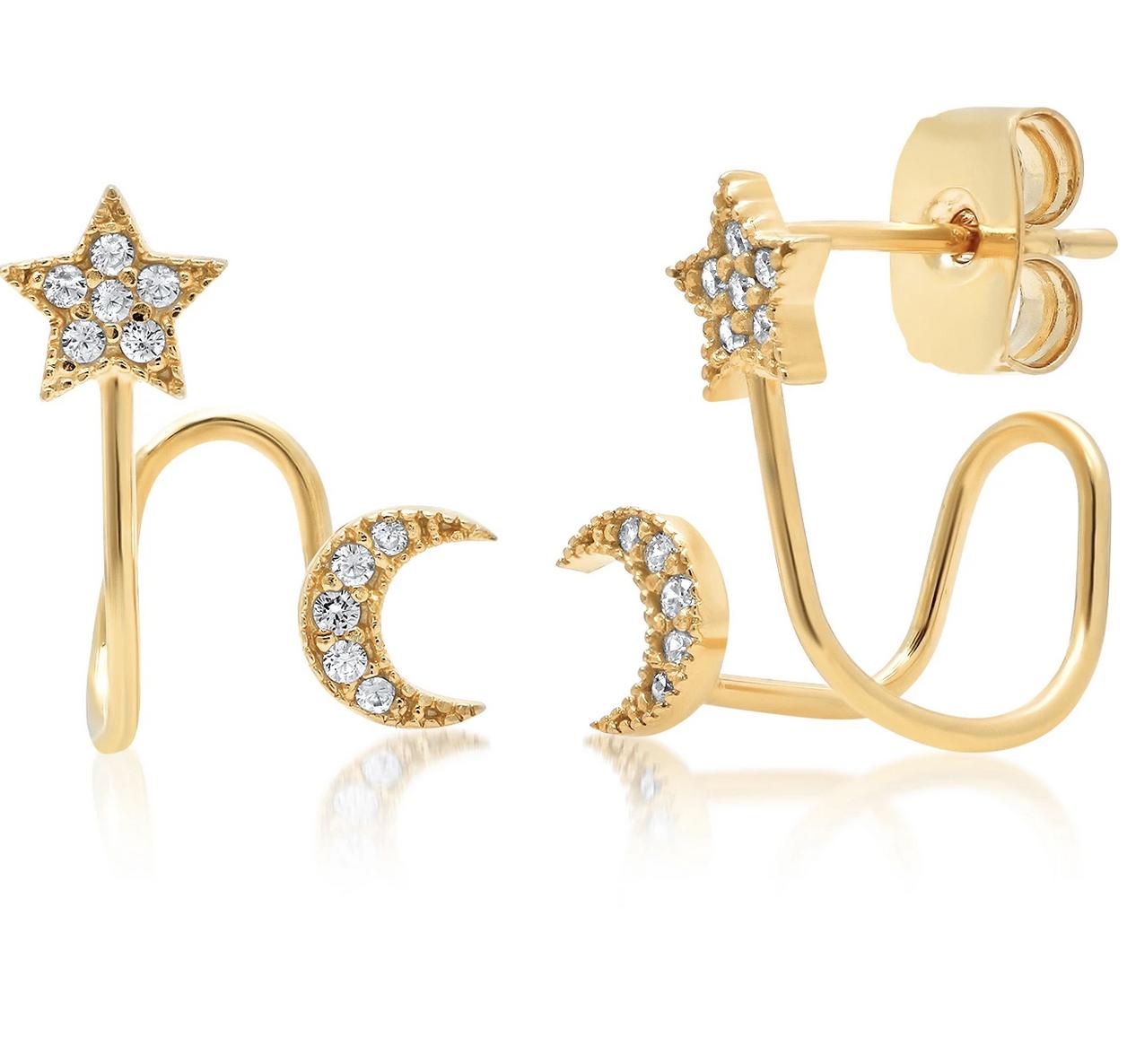 tai Gold Split Huggie Post w/ Moon and Star