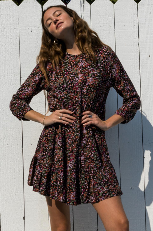 En Creme Garden Mini Dress-Black/Red