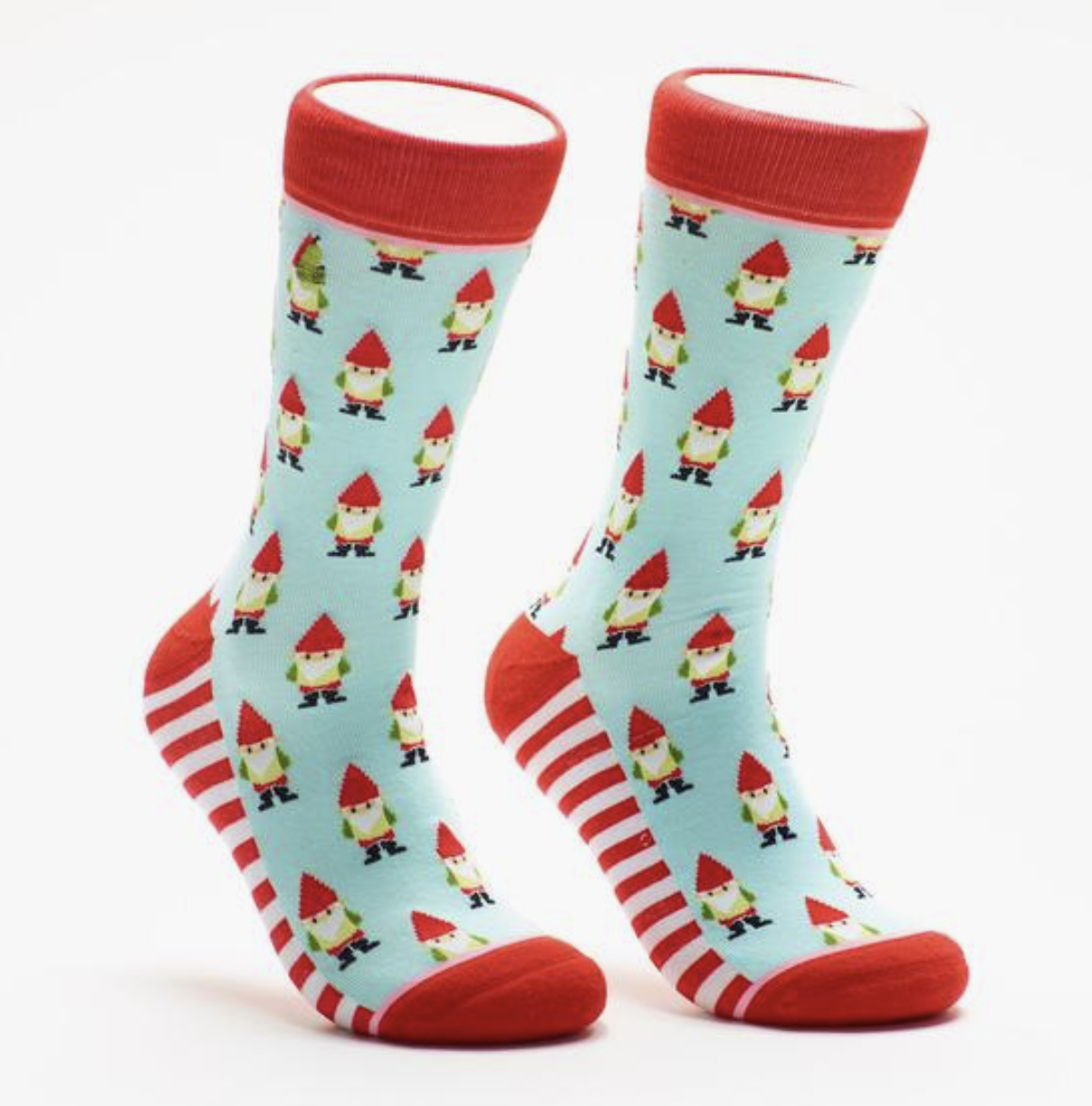 Woven Pear Garden Gnomes Crew Socks