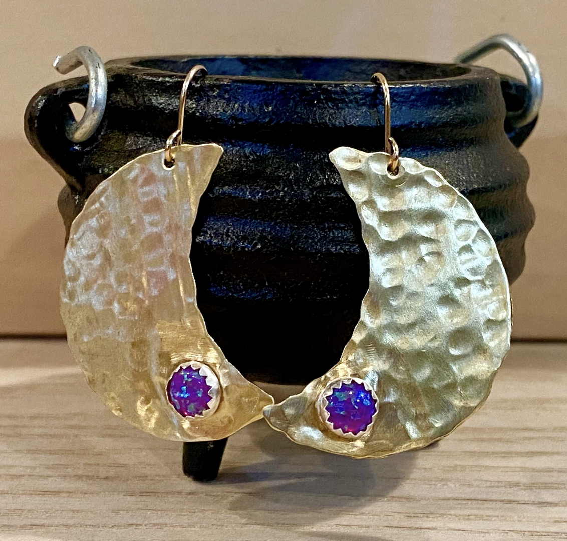 Metrix Jewelry Hammered Moon and Gemstone Earrings
