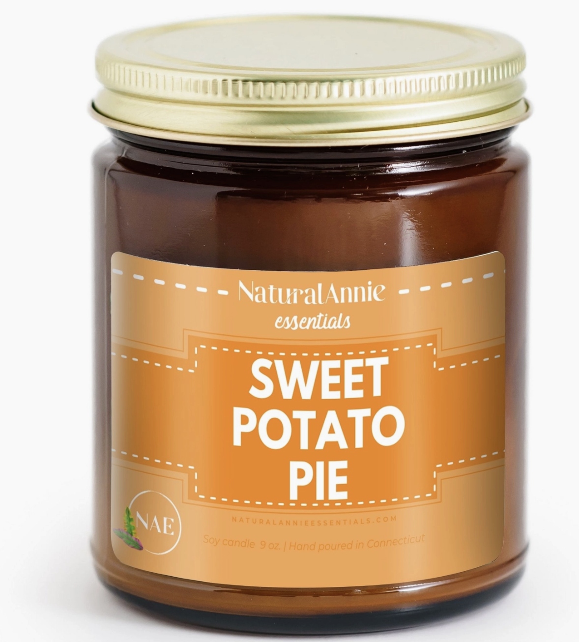 NaturalAnnie Essentials SWEET POTATO PIE Scented Soy Candle 9oz