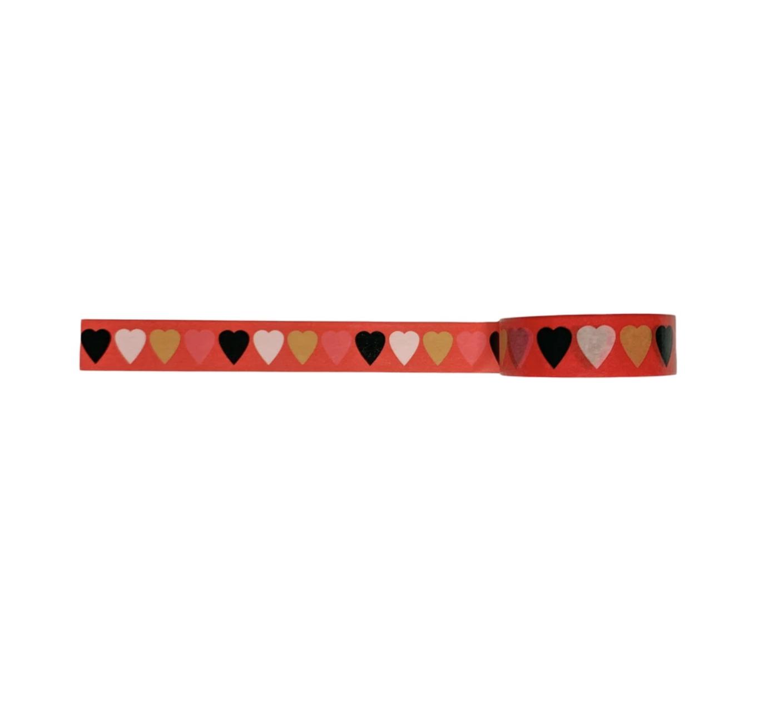 Golden Gems Red Heart Paper Tape Roll