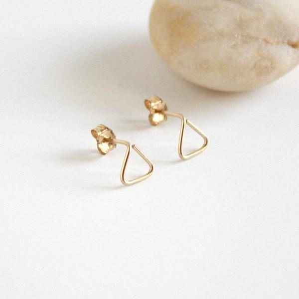 Hooks & Luxe Triangle Stud Earrings - 14K Gold Fill