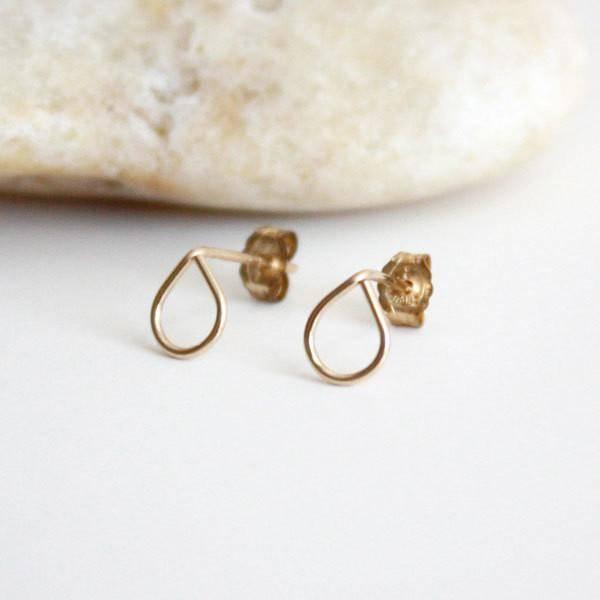 Hooks & Luxe Teardrop Stud Earrings-14k Gold