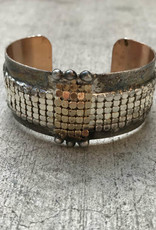 Mikal Winn Mikal C1035 Small brass cuff with gold bubble mesh