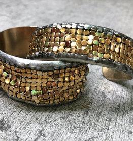 Mikal Winn Mikal brass cuff with gold plate mesh