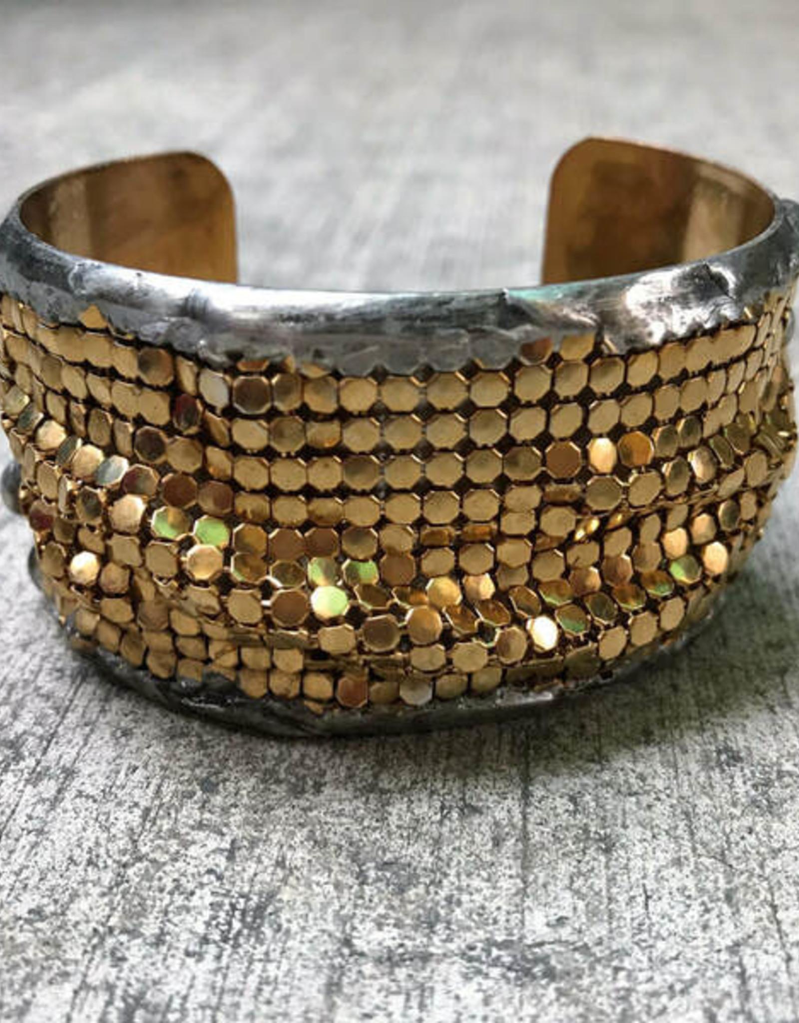 Mikal Winn Mikal CG144b Med brass cuff with gold bubble mesh