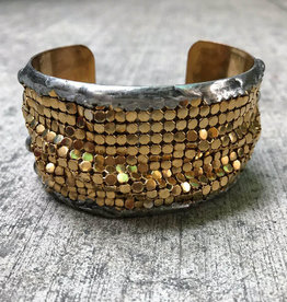Mikal Winn Mikal Brass Cuff with Gold Bubble Mesh