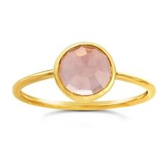 Ws House WS 14k Rose-cut  Rose Quartz Ring 7
